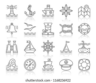 Marine thin line icons set. Outline web sign kit of nautical. Sea Knot linear icon collection boat, anchor, lighthouse, compass. Simple marine black contour symbol with reflection vector Illustration