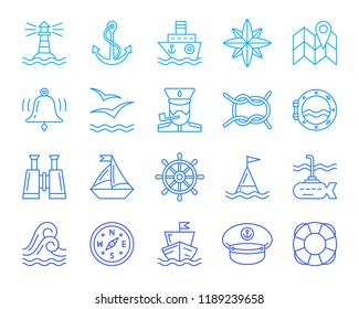 Marine thin line icons set. Outline monochrome web sign nautical kit. Sea Knot linear icon collection navy, rope ring, curly wave. Simple marine color contour symbol isolated white Vector Illustration