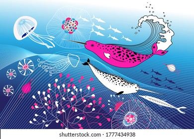 Marine vector background with narwhals and fish on a blue background with jellyfish. Marine advertising background.
