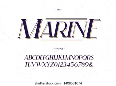 Marine vector font elegant italic style modern typography for decoration, logo, poster, t shirt, card, sale banner, printing on fabric, industrial. Cool typeface. Trendy alphabet. 10 eps