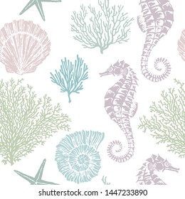 Marine vector hand drawn pattern with sea shells, stars, seahorse and coral. Highly detailed. Perfect for textiles, wallpaper and prints.