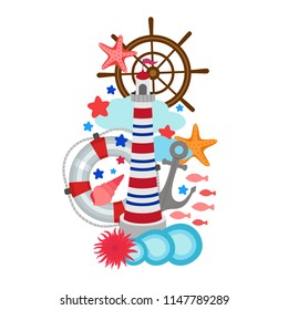 Marine vertical composition summer design, lighthouse, life buoy, waves, fish, steering wheel, anchor, bright elements for banner, ads, postcard, travel guide leaflet, surface fashion print, web site.