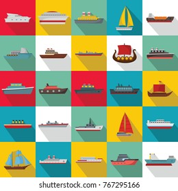 Marine vessels types icons set. Flat illustration of 25 marine vessel type vector icons for web