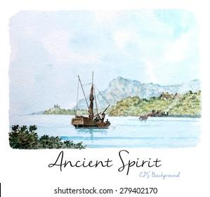 Marine Watercolor Painting, Vintage Seascape Background,Tall ship near the beach, Transhipment, Vector Illustration.