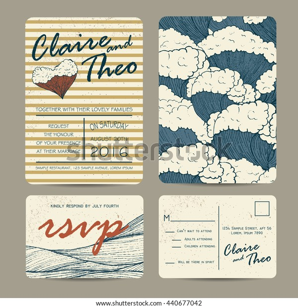 Marine wedding invitation set with rsvp card