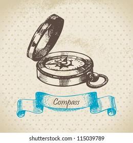 Mariner's compass. Hand drawn illustration