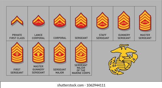 Marines Enlisted Rank Insignia - Isolated Vector Illustration