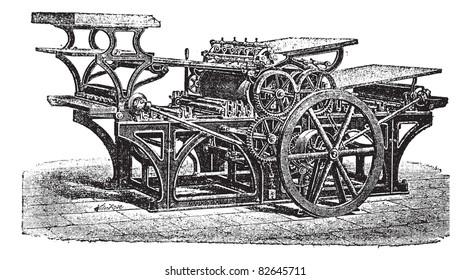 Marinoni  double printing press, vintage engraving. Old engraved illustration of Marinoni double printing press.  Trousset encyclopedia (1886 - 1891).