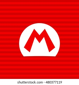 Mario bros symbol on a red background with a white frame