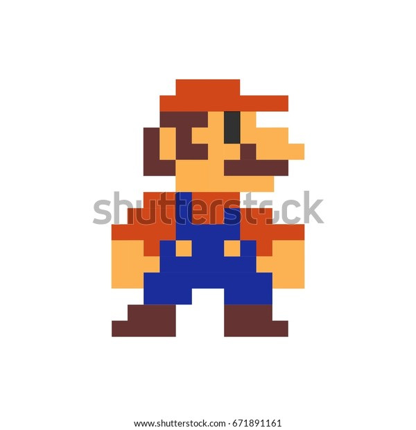 Mario Pixel Art Printed On Poster Stock Vector Royalty Free