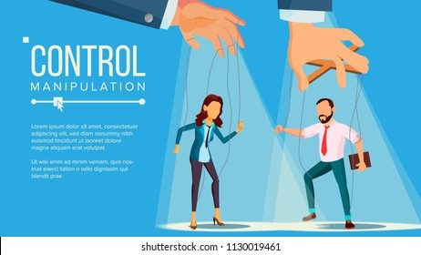 Marionette Concept Vector. Manipulation Big Managing Hand. Employee. Worker On Ropes. Unfairly Using. Cartoon Illustration