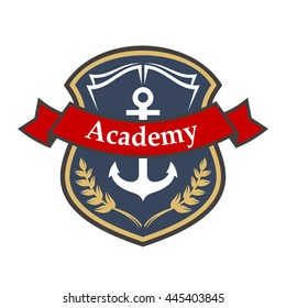 Maritime academy heraldic badge in a shape of medieval shield with book, marine anchor and laurel branches, supplemented by ribbon banner. Nautical heraldry or education theme design