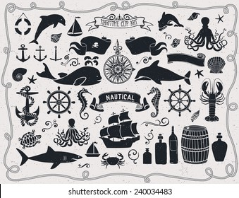 Maritime Clip Art - Set of nautical icons and design elements, including pirate flag, ship wheel, seahorse, sailing boats, octopus, seashells, whale, shark and dolphin; black and white