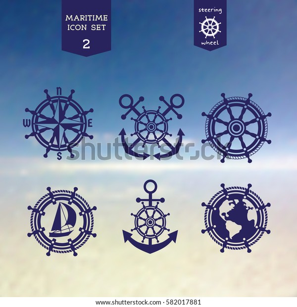Maritime icons set. Vector sea navigation element. Freehand drawn sailboat symbol. Stylized steering wheel, anchor, rope blue color. Nautical advertisement label background, logo template
