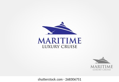Maritime Luxury Cruise Logo Template. Nautical theme logo, basic of this logo is a cruise made from simple shape.
