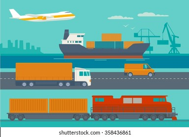 Maritime rail and air transport delivery services.  Ship, truck, car, train, airplane. Vector flat illustration. Hand drawn design element for label and poster