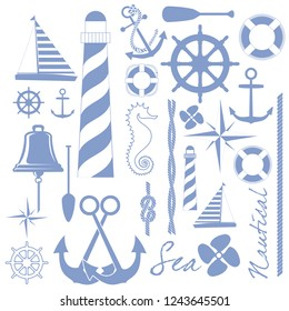 Maritime related objects. EPS format vector illustration. It can be used for various printing drawings, fabric, textile, flag, carpet design and for decoration purposes.