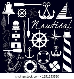 Maritime related objects. EPS format vector illustration. It can be used for various printing drawings, fabric, textile, flag