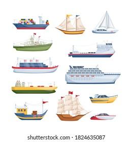 Maritime ships at sea, shipping boats, sailboat, yacht sailing, cargo cruise ship, steamship, vessel, frigate with sails, battleship, tanker. Water transportation boat tourism transport cartoon vector