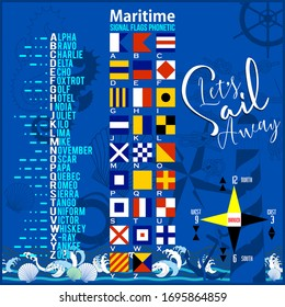 Maritime Signal Flags, Nautical Alphabet and Morse Alphabet . Vector drawing related to maritime.