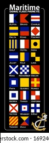 Maritime Signal Flags, Phonetic and Morse Alphabet . Vector drawing related to maritime.