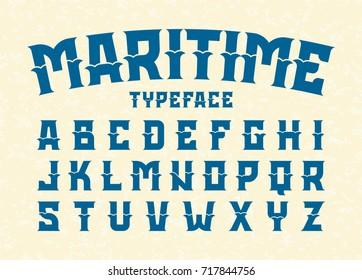Maritime style typeface vector illustration