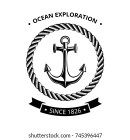 Maritime symbols logo - anchor in round frame of rope with black ribbon and place for text