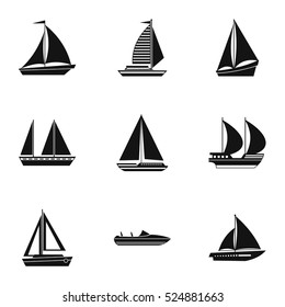 Maritime transport icons set. Simple illustration of 9 maritime transport vector icons for web
