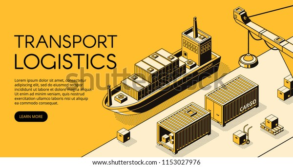 Maritime transport logistics vector illustration of thin line art in black isometric halftone. Ship cargo delivery or boat shipping containers and parcel boxes with loader crane on yellow background