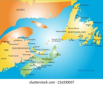 Maritime vector provinces color map