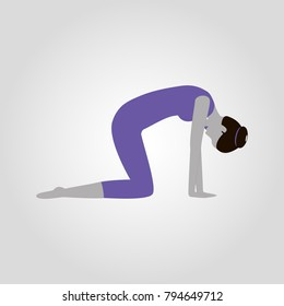 Marjari or cat pose isolated flat vector icon yoga pose