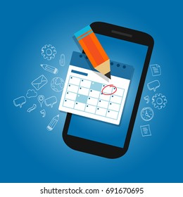 mark calendar schedule on mobile smart-phone device important dates reminder time organizer plan