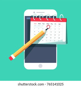 mark calendar schedule on mobile smart-phone device important dates reminder time organizer plan. Vector Icon in trendy flat style isolated on green background. Agenda symbol for your web site
