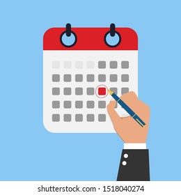Mark calendar. Vector illustration flat style. Close-up hand businessman with red pen. Date circled. Cartoon style. Week day month. Mockup of page.\n