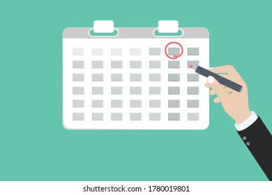 Mark calendar. Vector illustration flat style. Date circled. Week day month. Mockup of page.