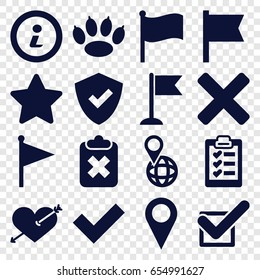 Mark icons set. set of 16 mark filled icons such as heart with arrow, flag, pin on globe, star, tick, clipboard, info, cross, paw, shield, clipboard with cross