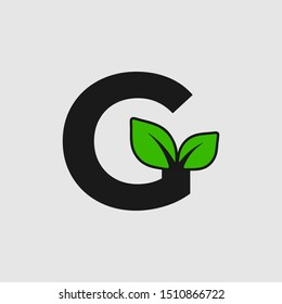 Mark letter G with double leaf Logo. Editable Logo