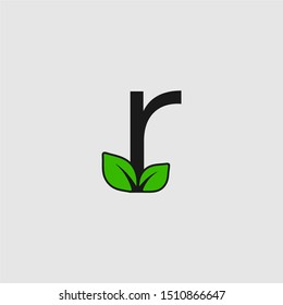 Mark letter R with double leaf Logo. Editable Logo