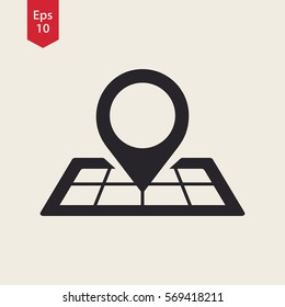 Mark On Map. Simple Flat Icon. Vector Illustrated Sign. Pin Symbol