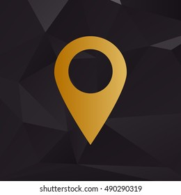 Mark pointer sign. Golden style on background with polygons.
