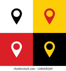 Mark pointer sign. Vector. Icons of german flag on corresponding colors as background.