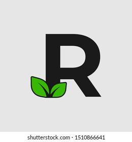 Mark R letter with double leaf Logo. Editable Logo