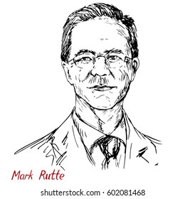 Mark Rutte hand drawn vector portrait, Dutch politician, Prime Minister of Netherlands since 2010, Leader of People's Party for Freedom and Democracy , simple lines drawing, illustrative editorial