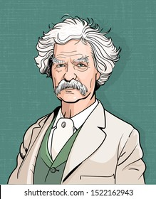 Mark Twain cartoon portrait, vector