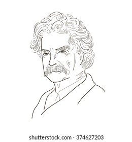 Mark Twain (Samuel Langhorne Clemens), an American author and humorist of the 19th - 20th century. Sketch illustration. Vector.