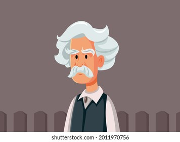 Mark Twain Vector Caricature Illustration. Portrait of a famous 19th century American author of humorous novels