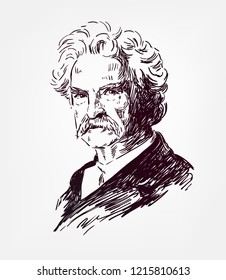 Mark Twain vector sketch illustration portrait