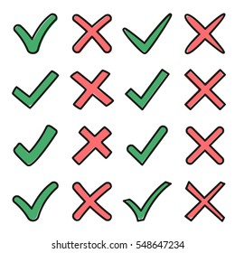 Mark X and V in sketch style. Set of green hooks and red crosses. Yes No icons for websites or applications. Right Wrong signs isolated on white background. Red cross, green tick vector set