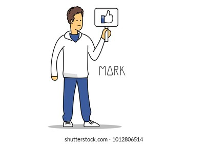 Mark Zuckerberg founder of facebook. Cartoon portrait. January 29 2018