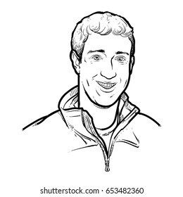 Mark Zuckerberg Hand Drawing outline. Mark Zuckerberg vector illustration, social network